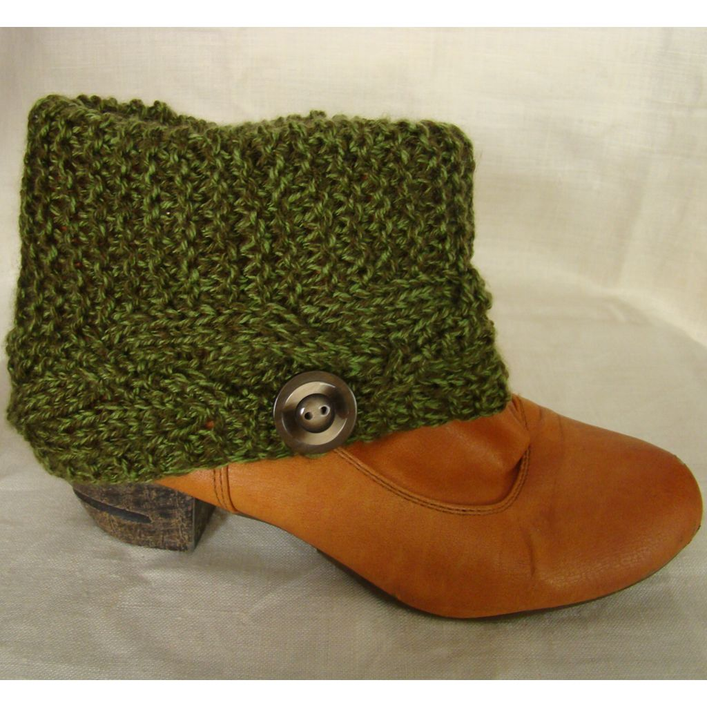 Sebix - Wool Green Boot Cuffs Legwarmers with Button - View on Shoe