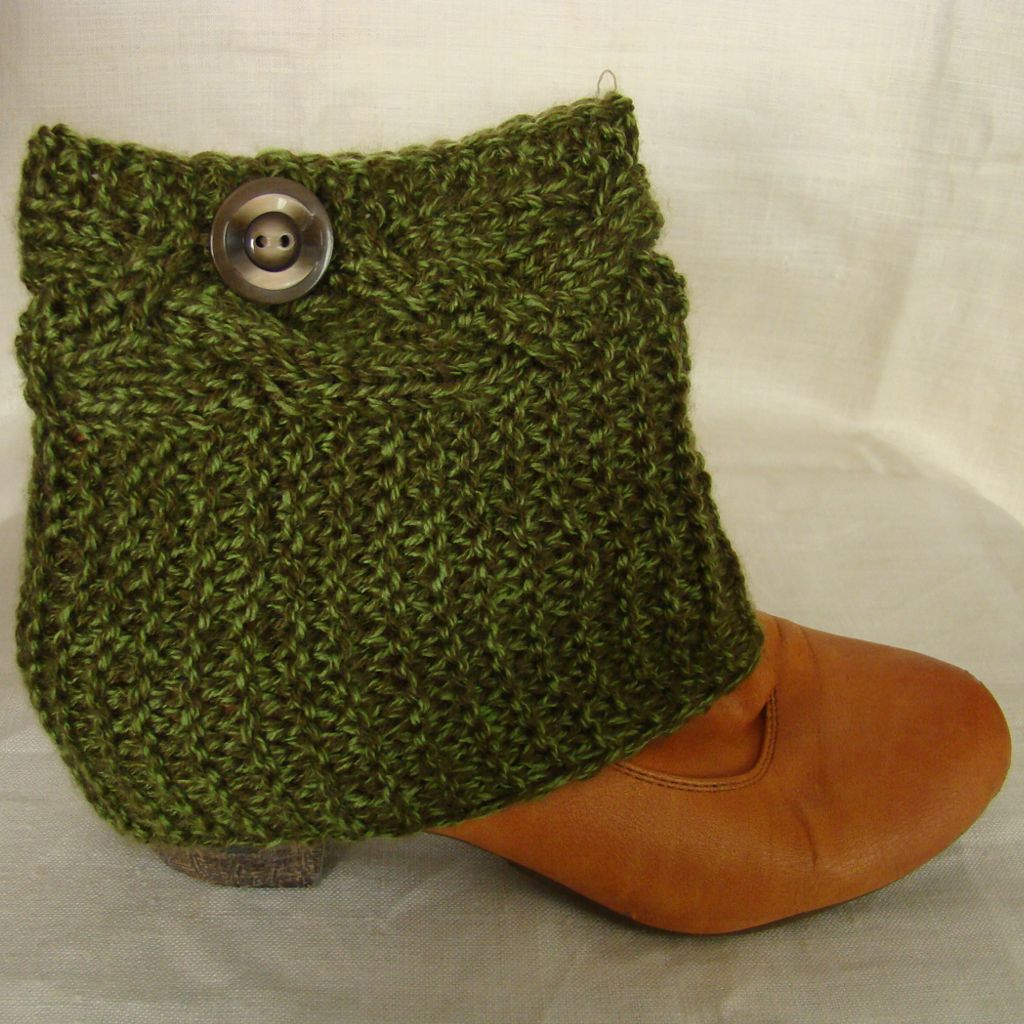 Sebix - Wool Green Boot Cuffs Legwarmers with Button - View on Shoe (2)
