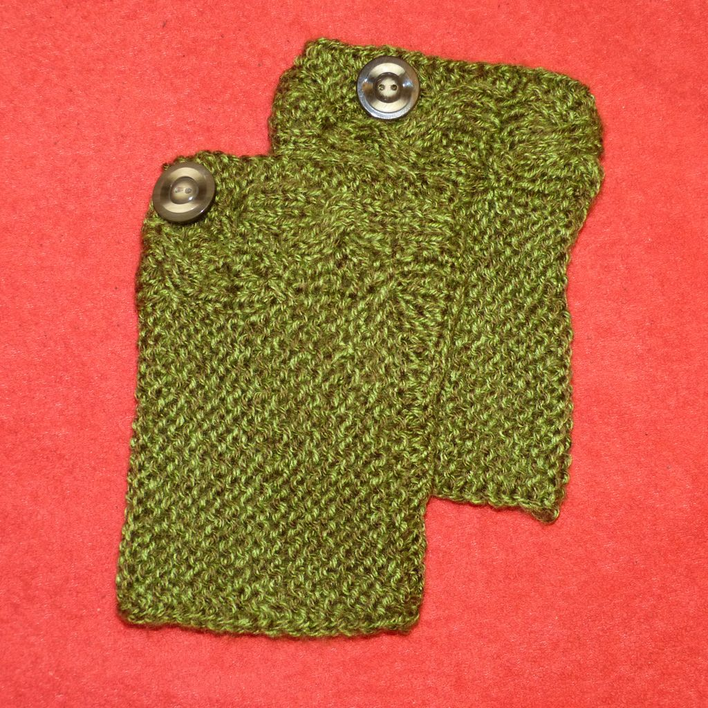 Sebix - Wool Green Boot Cuffs Legwarmers with Button - Pair on Red