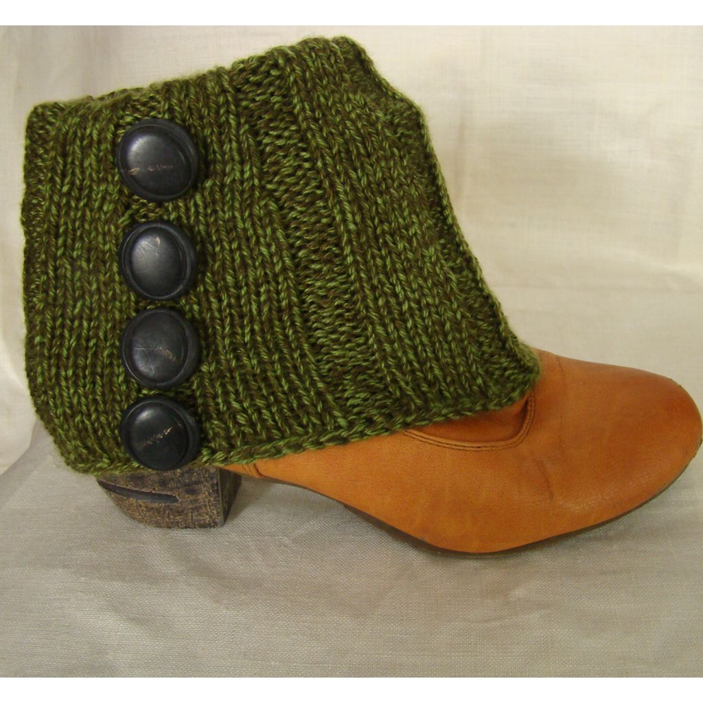 Sebix - Wool Green Boot Cuffs with Buttons - View on Shoe