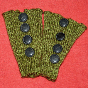 Sebix - Wool Green Boot Cuffs with Buttons - Pair