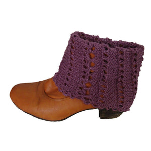 Sebix - Warm Shiny Purple Spain Snood Style Scarf & Boot Cuffs Set - Cuffs 1