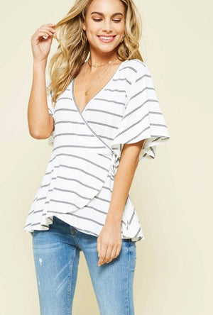 White & Black Faux Wrap Top