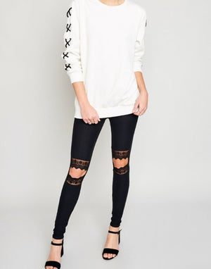 Lace Cut-Out Leggings