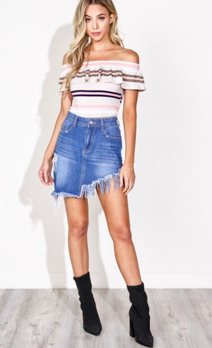Symmetrical Ripped Denim Skirt