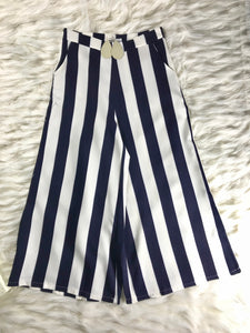 Stripe Navy Pants with Pockets