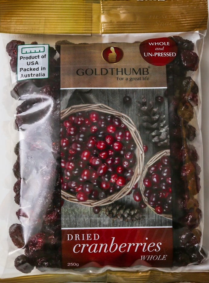 Dried Cranberries Whole 250 gram FREE