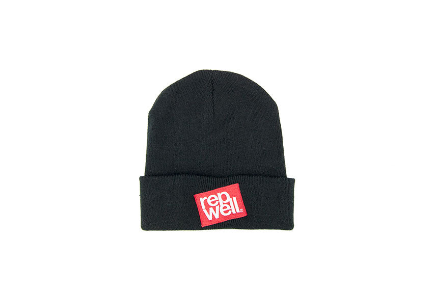 The Red Stack Black Beanie