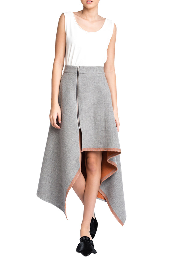 ASYMMETRIC WOOL SKIRT