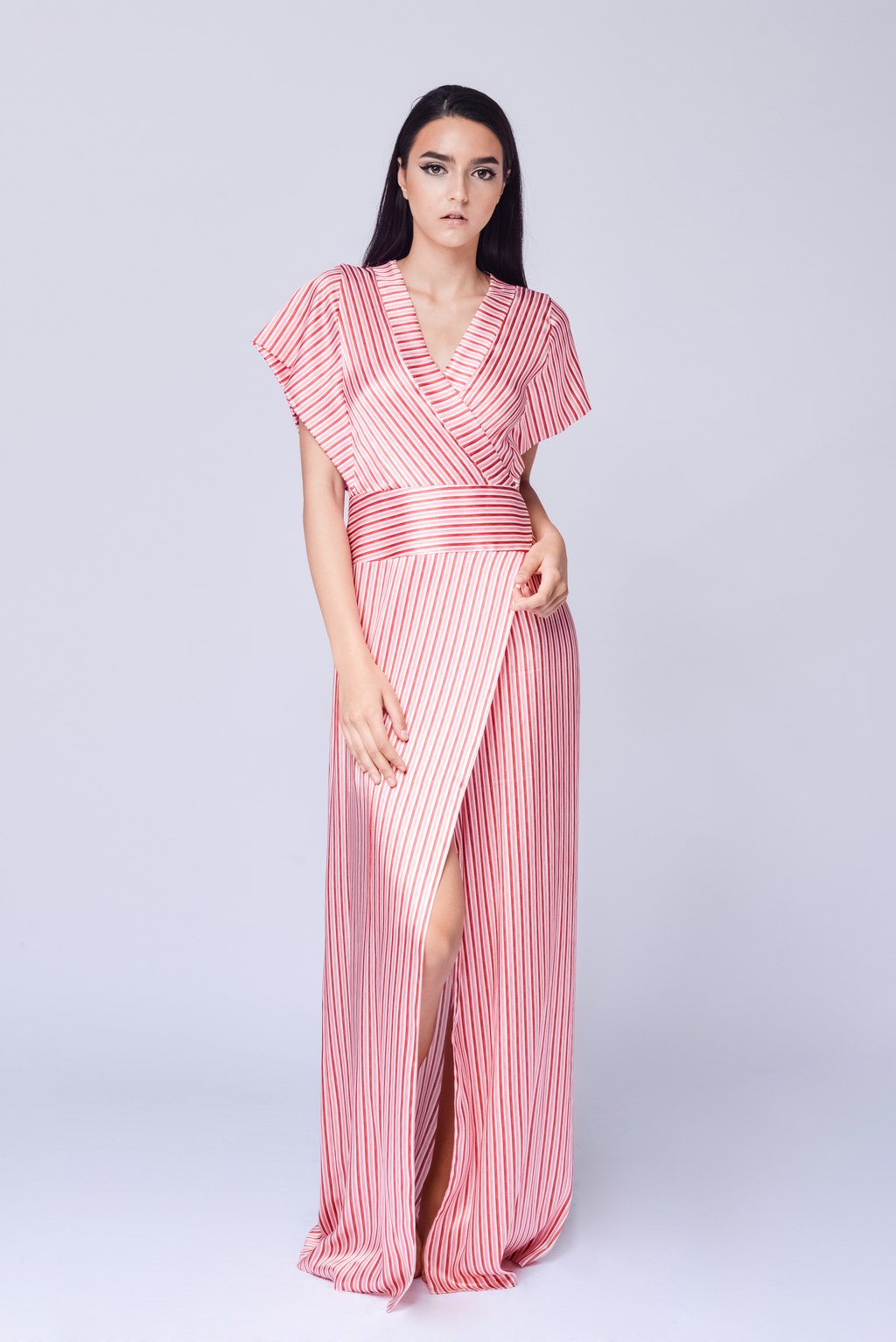 STRIPE SILK DRESS