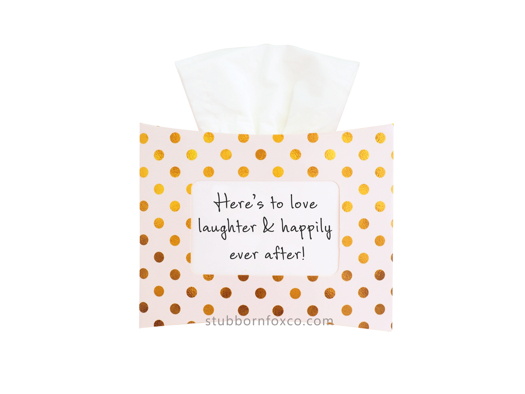 Gold Dots gift tissue box - Here's to love, laughter and happily ever after. For weddings and happy moments.