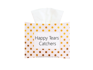 Gold Dots gift tissue box - Happy Tear Catchers for weddings and happy moments.