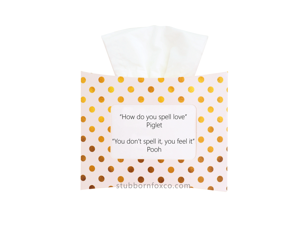 Gold dots gift tissue box - How do you spell love pooh?