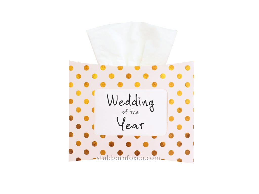 Gold Dots gift tissue box - Wedding of the Year. Perfect for weddings as a centrepiece or gift for the guests.