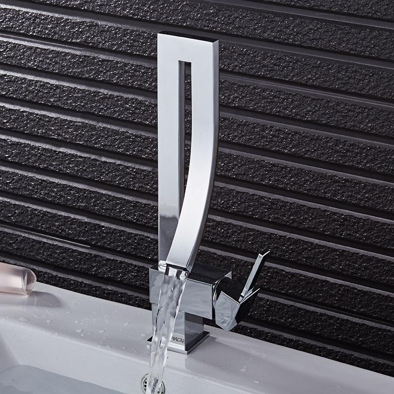 RAYMOND Modern Black Curved Waterfall Faucet