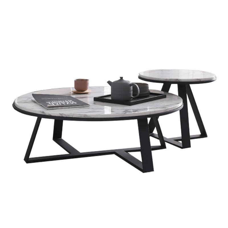 ELEANOR Round Marble Coffee Table Set