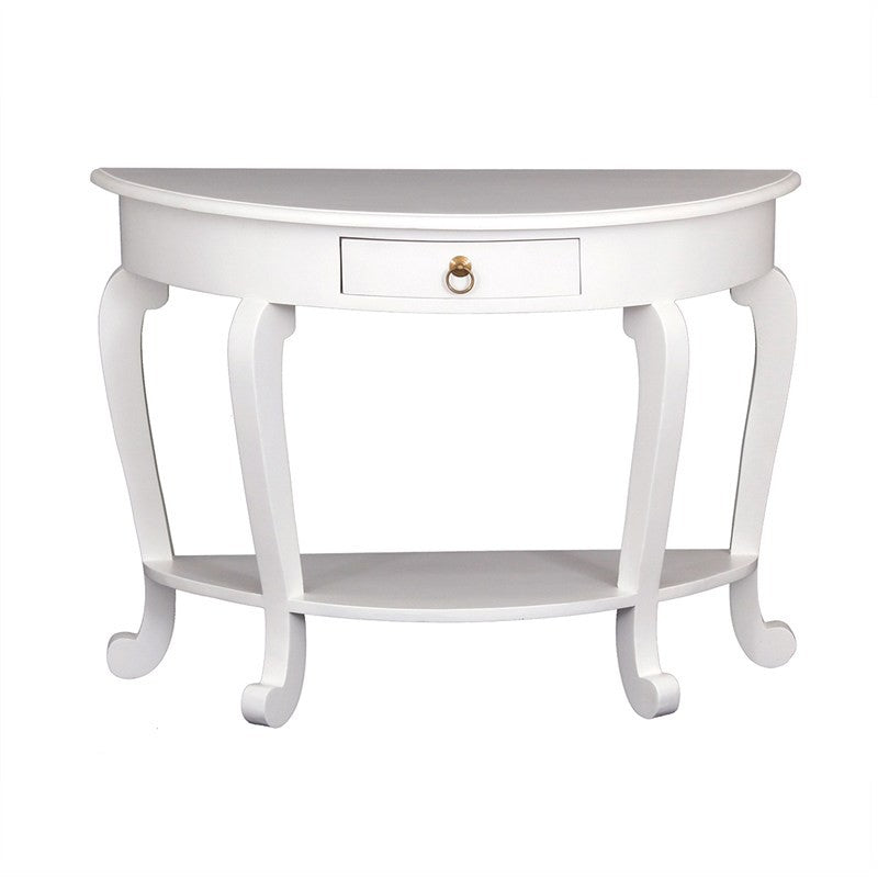 Eiffel Cabriola Solid Wood Timber French Half Round Sofa Table, White