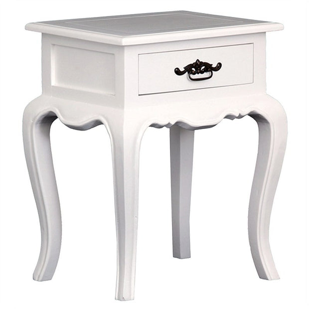 Eiffel Solid Wood Timber Single Drawer Bedside French Lamp Table - White TWS899LT-001-FP-WH_1