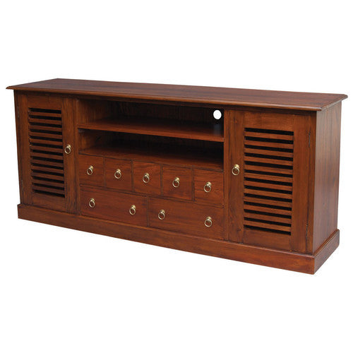 Finland Teak TV Console Stripe 190cm Entertainment Unit in Mahogany or Chocolate Color TWS889SB-207-HSR