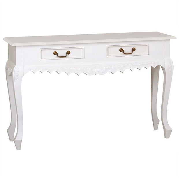 QueenAnne Solid Wood Timber 2 Drawer French Console Sofa Table - White TWS899ST-002-CV-WH_1