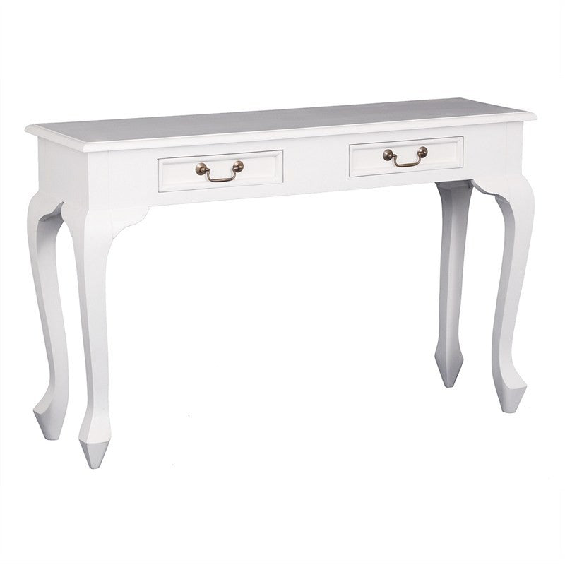 QueenAnne Solid Wood Timber 2 Drawer French Console Sofa Table, 120cm, White TWS899ST-002-QA-WH_1