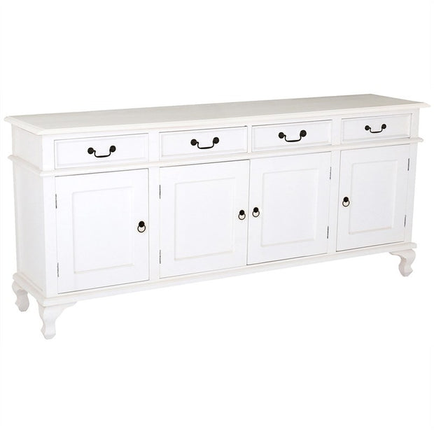 QueenAnne Solid Wood Timber 4 Door 4 Drawer 200cm French Buffet Table Sideboard - White TWS899SB-404-QA-WH_1