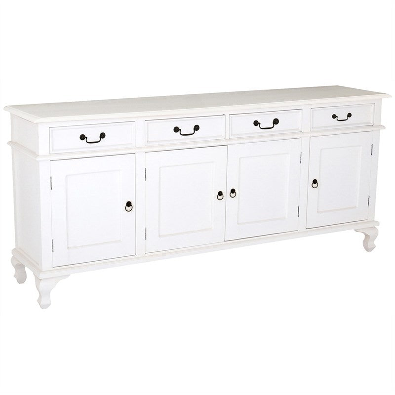 Queenanne Solid Wood Timber 4 Door 4 Drawer 200cm French Buffet