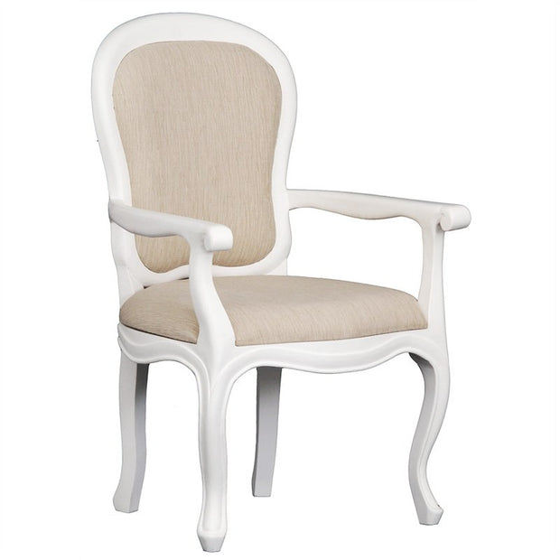 QueenAnne Solid Wood Timber French Dining Armchair - White TWS899CH-56-54-QA-AC-WH_1