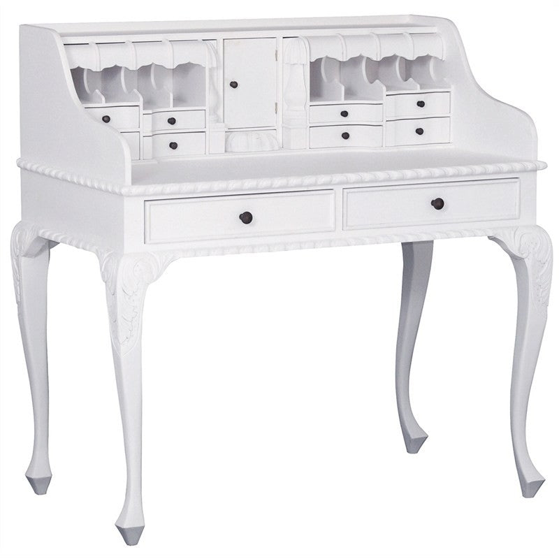 QueenAnne Solid Wood Timber French Writing Table Secretarys Desk Roll Top with Secret Compartments - White TWS899DK-119-CV-WH_1