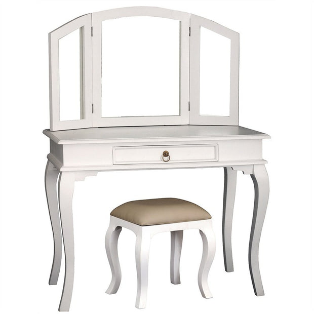 QueenAnne Solid Wood Timber Vanity Table French Dressing Table with Stool - White TWS899ST-001-MR-QA-SET-WH_1