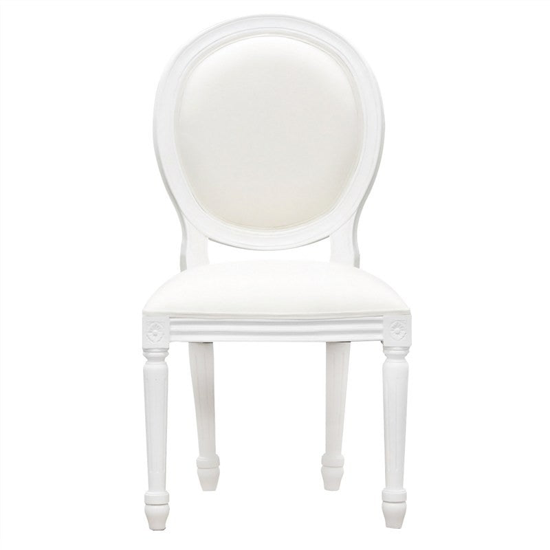 QueenAnne Wood Timber Round Back Dining Chair, White TWS899CH-000-RD-QA-WH_1