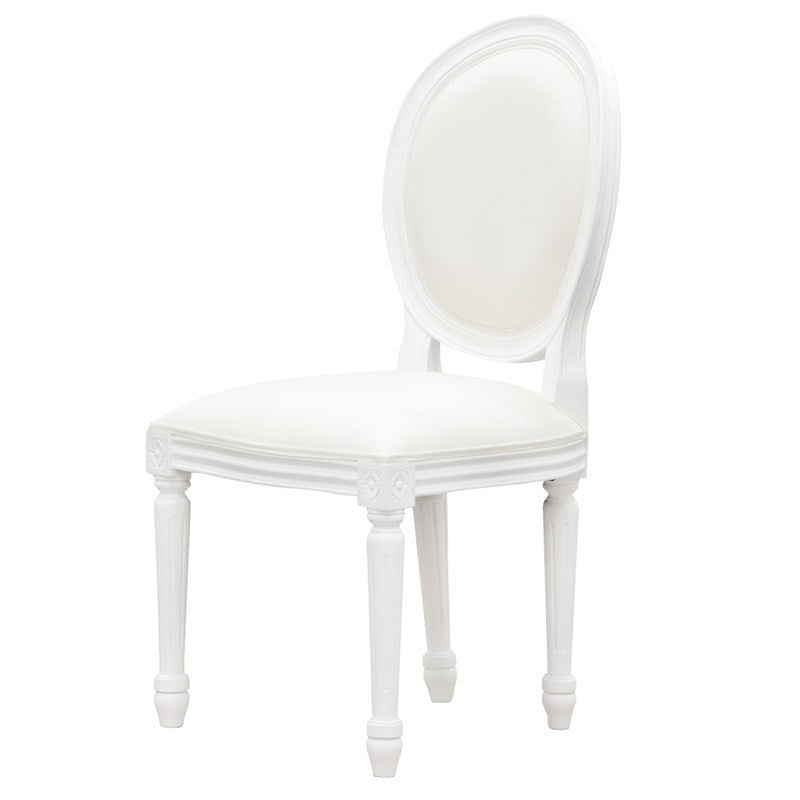 QueenAnne Wood Timber Round Back Dining Chair, White TWS899CH-000-RD-QA-WH_2