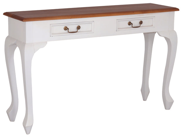 England Queen Anne 2 Drawer Sofa Table Writing Desk TWS899 Two Tone White LP