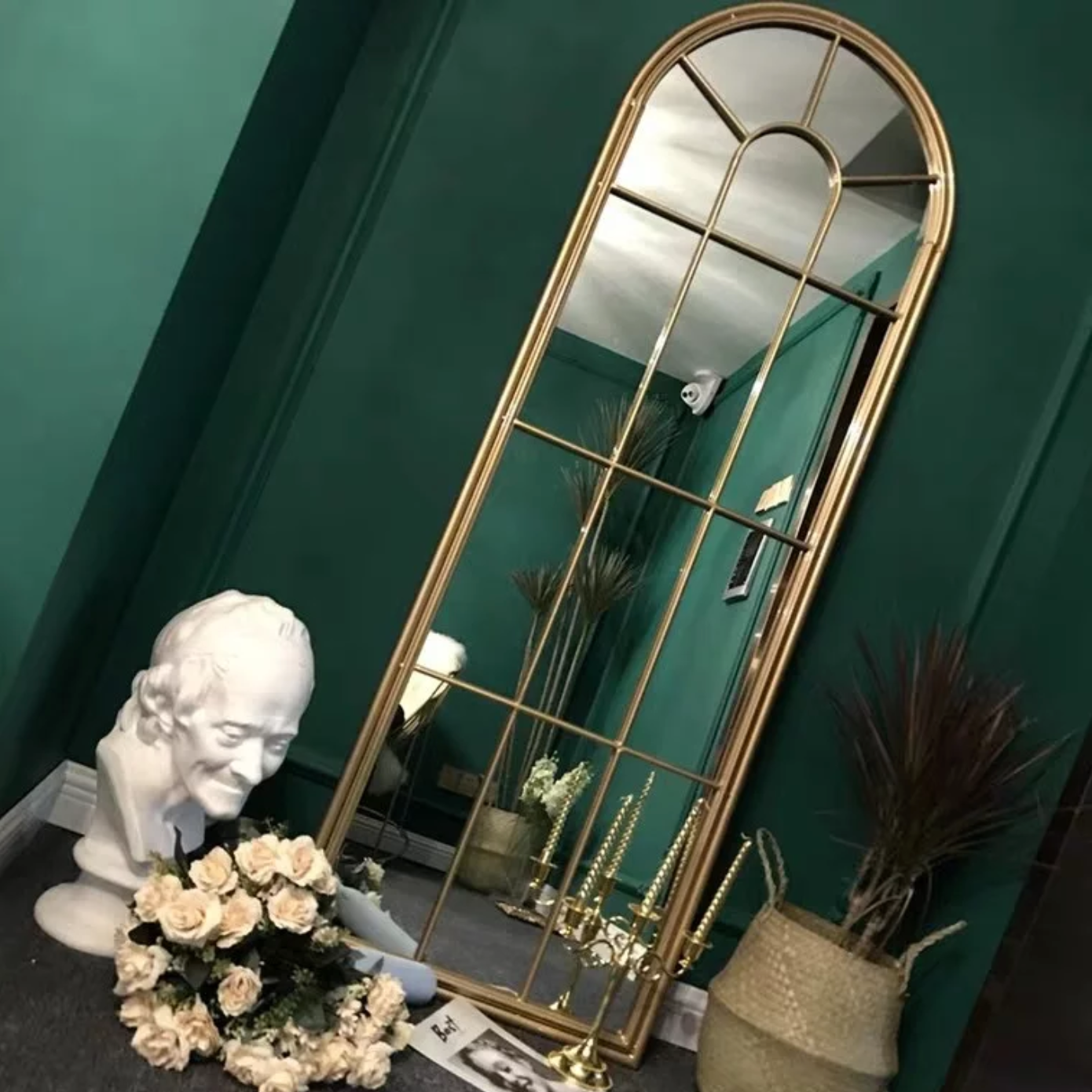 LILIAN Vintage Arched Window Mirror