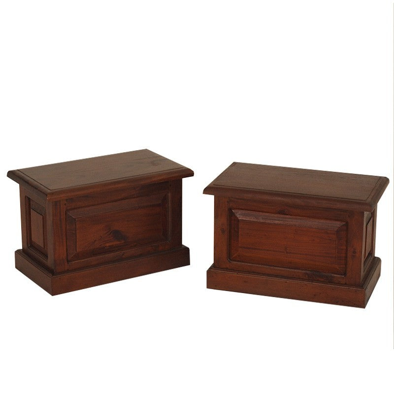 Set of 2 Tasman Teak Timber Blanket Boxes, Small, Treasure Box Mahogany BS-100-BX-C-Set-of-2-M