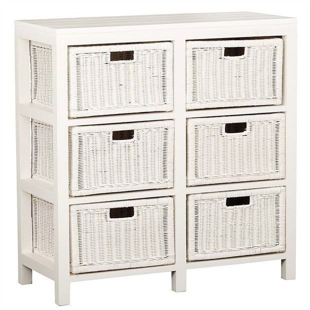 Spottiswood Solid Wood Timber French 6 Basket Storage Unit Cabinet , White TWS899CB-006-RT-WH_1
