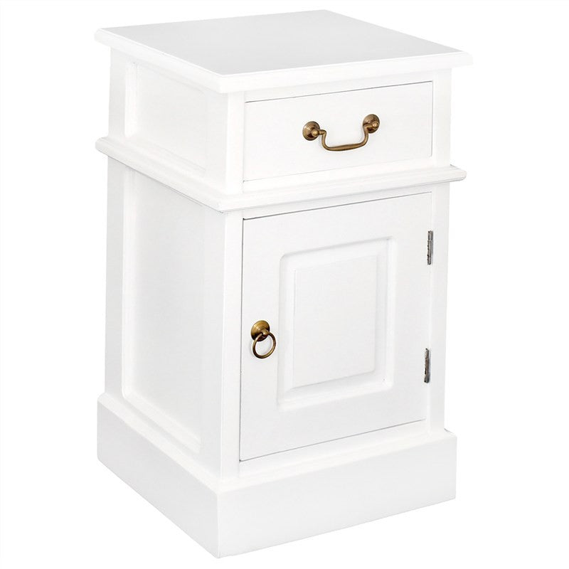 Tasman Wood Timber French Bedside Table, Lamp Table White TWS899BS-101-PN-WH_1