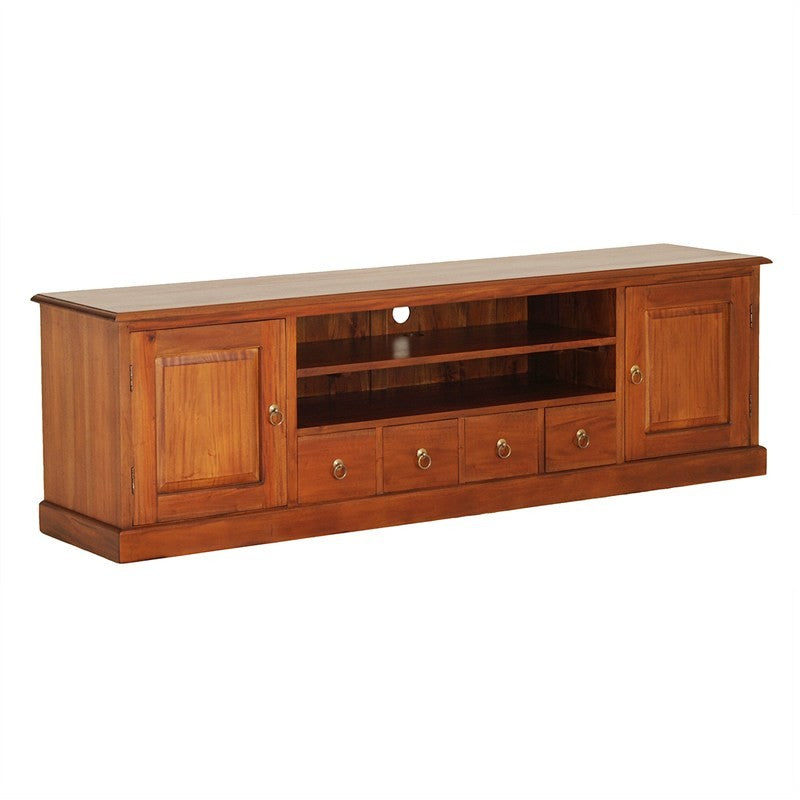 Tasman TV Console Teak Timber 2 Door 4 Drawer 200cm TV Unit, Mahogany SB-204-PN-M
