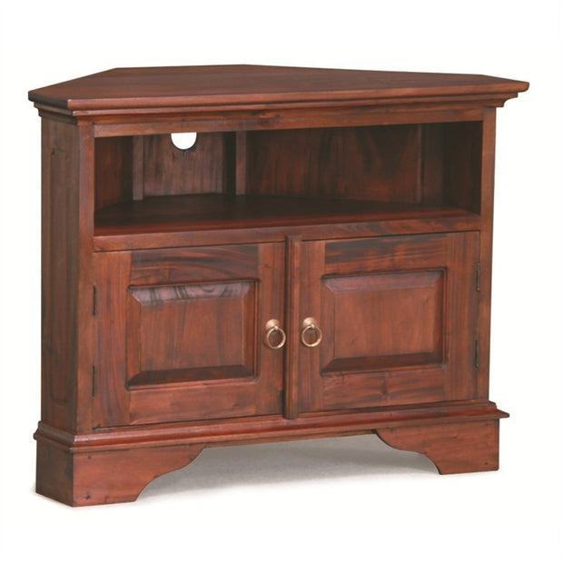 Tasman TV Console Teak Timber 2 Door Corner TV Stand, 90cm, Mahogany TV-200-PN-CNR-M