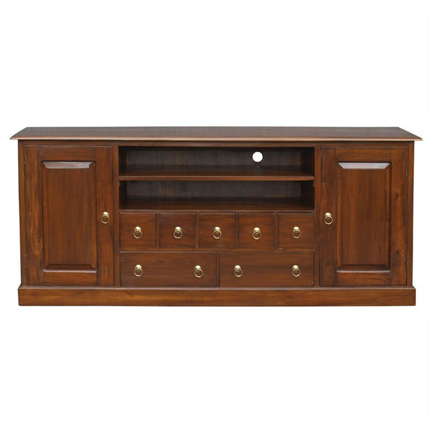 Tasman TV Console Timber 2 Door 7 Drawer 187cm TV Unit, Mahogany SB-207-PN-M