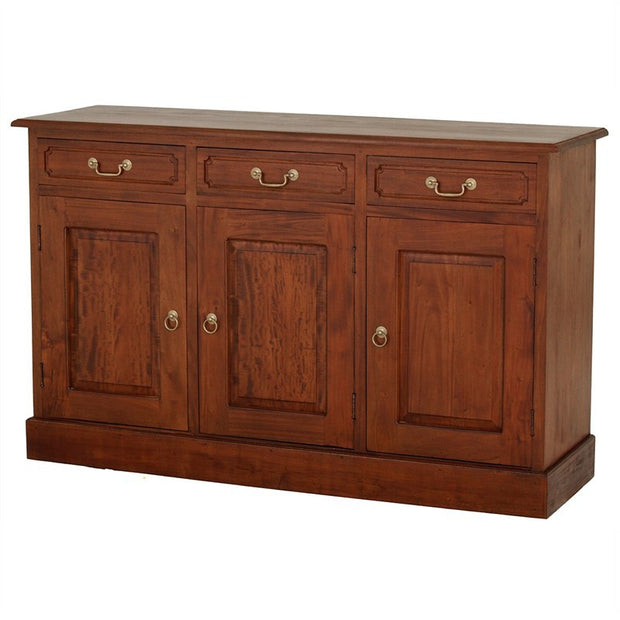 Tasman Teak Timber 3 Door 3 Drawer 145cm Buffet Table, Sideboard Cabinet Mahogany SB-303-PN-M