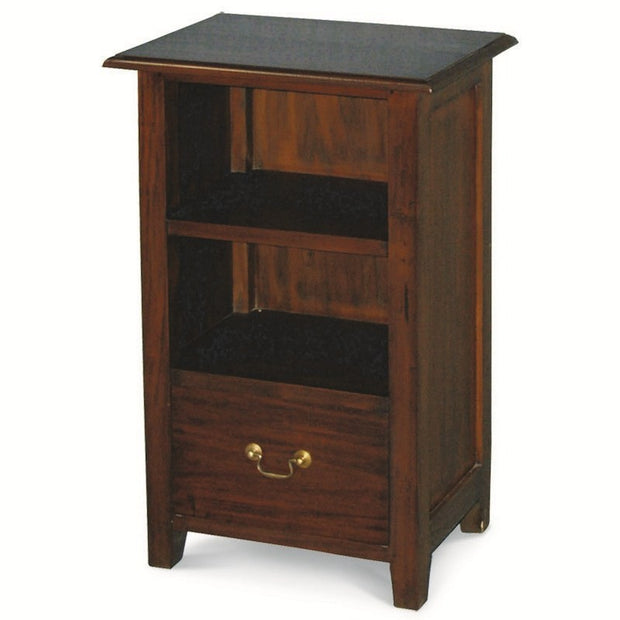 Tasman Teak Timber Single Drawer Side Table with Shelf, Lamp Table  Mahogany LT-001-PN-M
