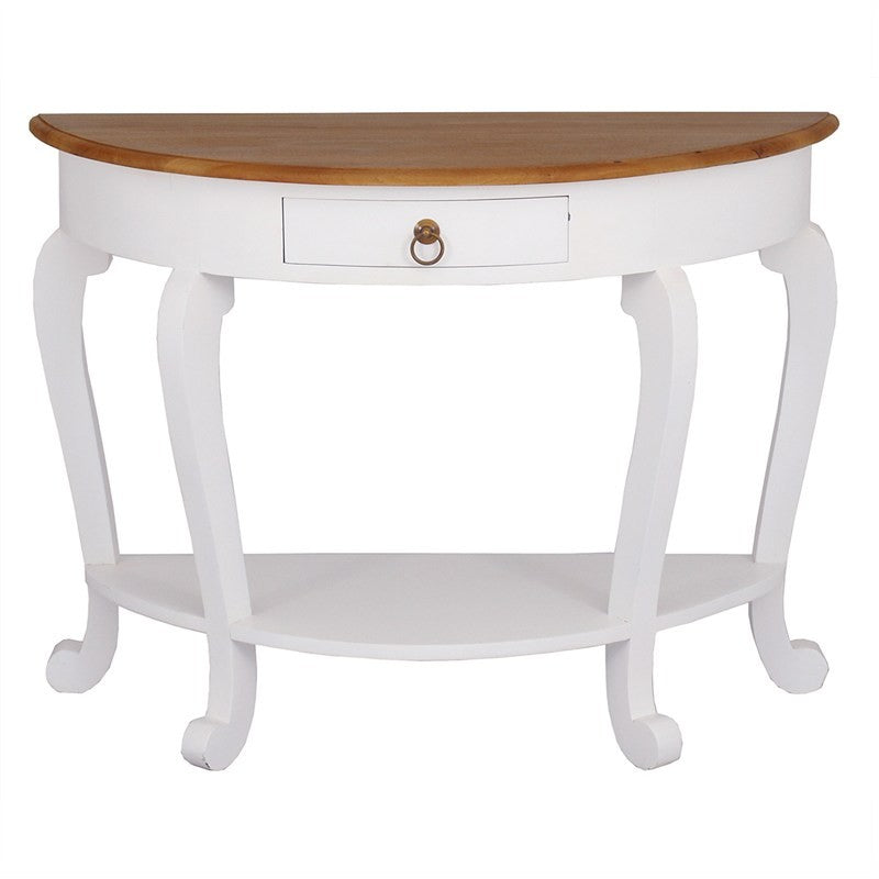 TwoTone Cabriolet Solid Wood Timber French Half Moon Round Sofa Table,  White Caramel TWS899ST