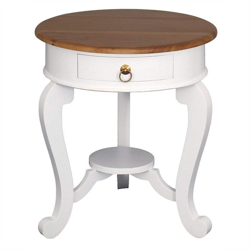 TwoTone Cabriolet Solid Wood Timber French Round Lamp Table, Side Table Night Stand White Caramel TWS899LT-001-RD-CL-WR_1