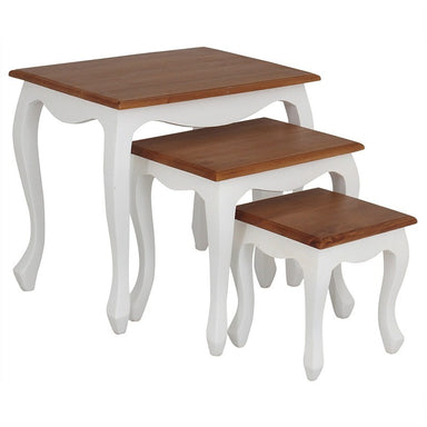 TwoTone QueenAnne 3 Piece Solid Wood Timber French Nested Table Set, White Caramel TWS899NT-300-QA-WR_1