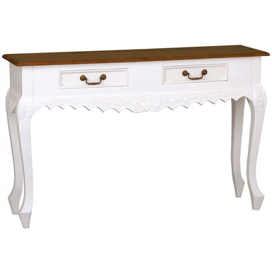 TwoTone QueenAnne Nova Solid Wood Timber French 2 Drawer Sofa Table, White Caramel TWS899ST-002-CV-WR_1