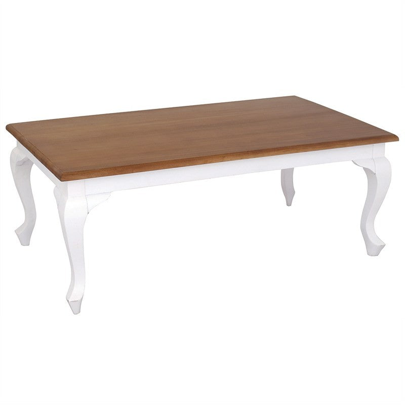 TwoTone QueenAnne Solid Wood Timber French 120cm Coffee Table - White Caramel TWS899CT-120-70-QA-WR_1