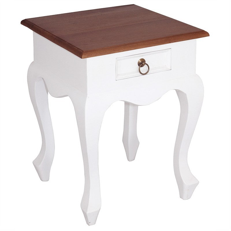 TwoTone QueenAnne Solid Wood Timber Single Drawer French Lamp Table - White Caramel TWS899LT-001-QA-WR_1