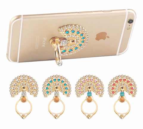 Finger Ring Phone Holder Mount For iPhone Samsung Universal Luxury Peacock Diamond Grips 5497517 - Tokyo Fashion