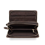 Genuine Leather Double Zipper Long Wallets Gentlemen Westal PHY9013 - Tokyo Fashion
